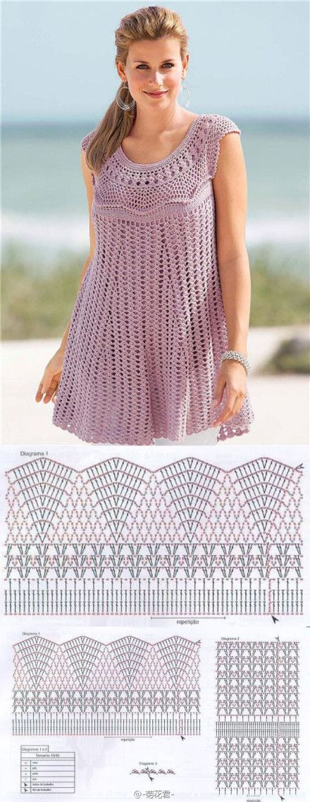 Cute #crochet top or dress pattern.
