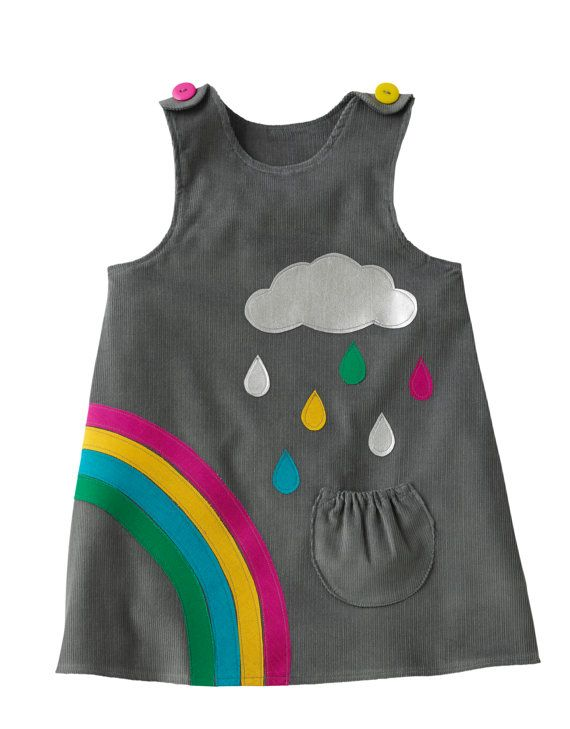 filles robe arc-en-ciel raindrops nuage gris par wildthingsdresses