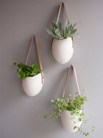Hanging Porcelain Container, 3 Small