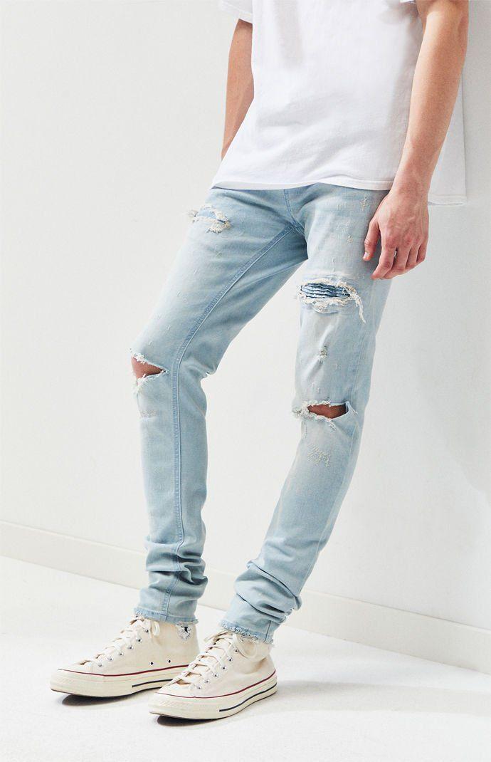 Men's TOPMAN Jeans Blue Bleach Skinny Ripped Summer