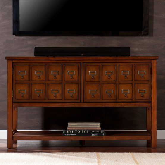 Southern Enterprises Hogart 48 in. Apothecary TV Stand - Brown Mahogany 322