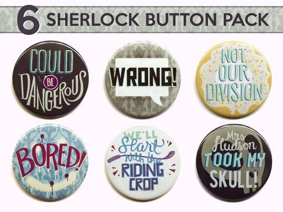 Aimants de Sherlock Sherlock boutons  ensemble de par PeppersPins