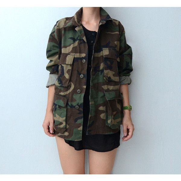 Vintage camo Military Jacket // army jacket (£46) ❤ liked on Polyvore featuring outerwear, jackets, outfits, tops, blusa, camo jacket, multi pocket jacket, camo field jacket, camouflage jacket and vintage army jacket
