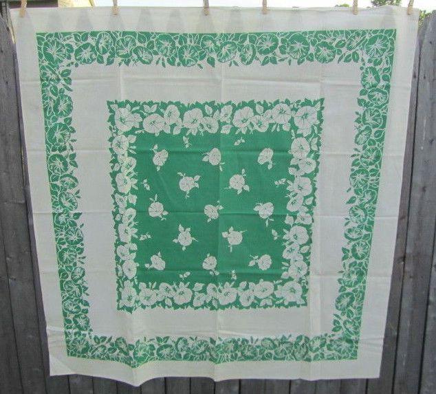 "Vintage Tablecloth MORNING Glory Flowers GREEN 50"" x 51"" CRISP"