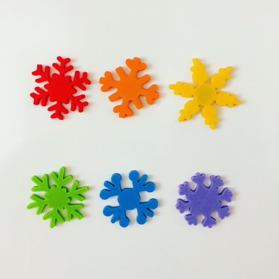set of snowflake magnes in rainbow color