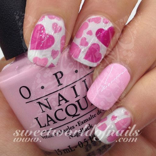Valentine's Day Nail Art Water Full Wraps Pink and Hot Pink Hearts #PedicureIdeas