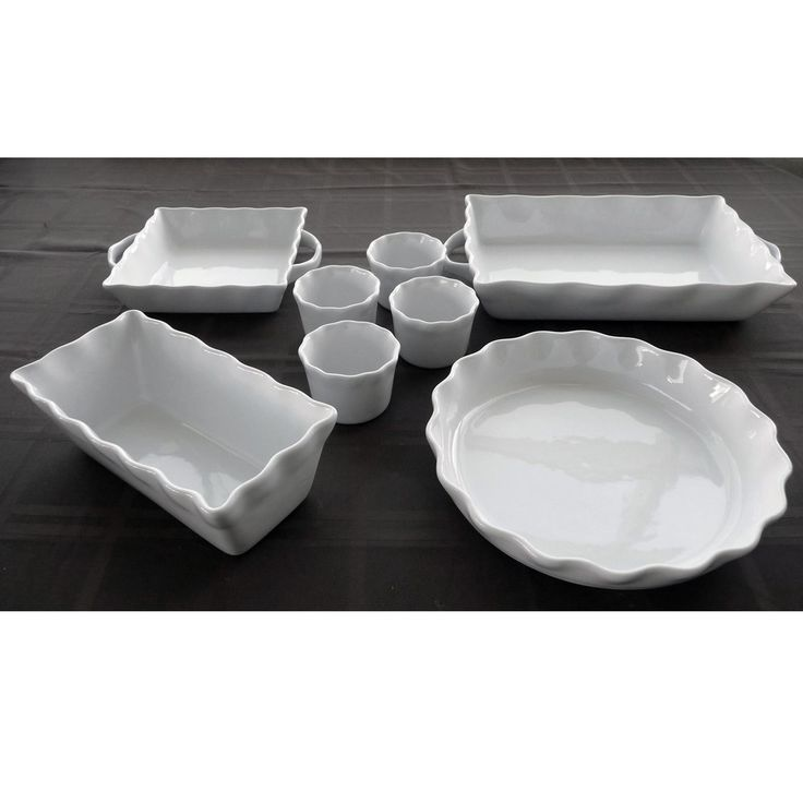 White Stoneware Bakeware 8-piece Set | Overstock™ Shopping - Great Deals on Ceramic Bakeware