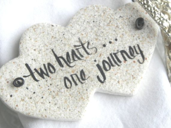 Double Heart Wedding Favor Napkin Rings Salt dough Ornaments / Set of 10 Plain or Personalized