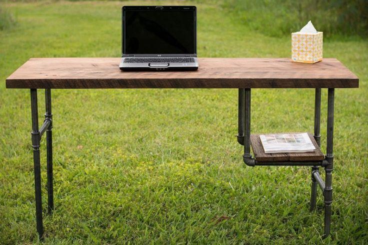 "AmazonSmile: Reclaimed Wood Desk Table - Rustic Solid Oak W/ 28"" Black Iron Pipe legs.: Handmade"