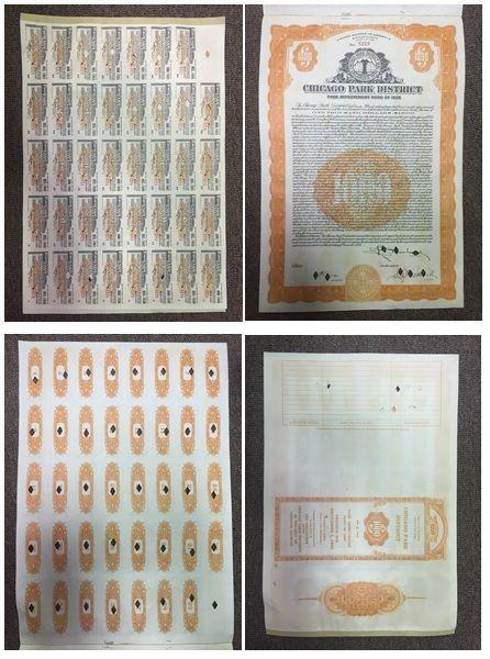 Stock/Bond: Rare - Chicago Park District Soldier Field Bears Stock Bond Certificates