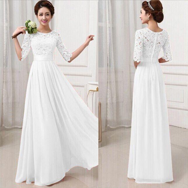 Longue Robe DE Mariée Demoiselle D'Honneur Robe DE BAL Soirée Partie Maxi Dress | eBay