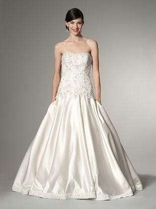 Allure Bridals Women's Strapless Satin & Lace Ballgown (Ivory/Cafe/Silver)