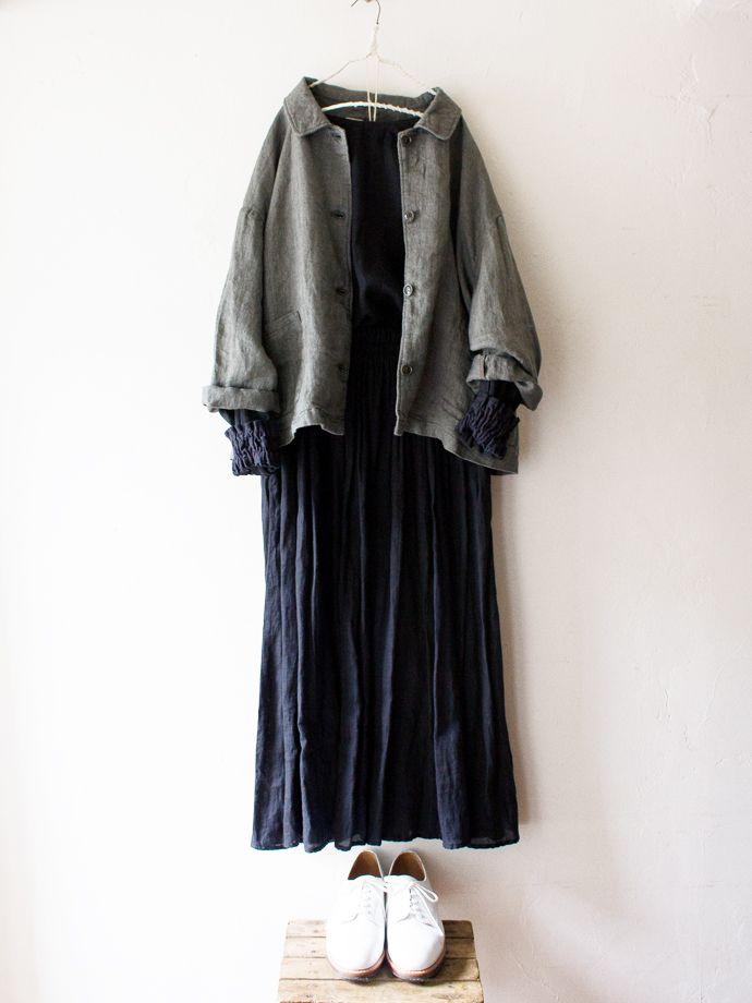 吉備リネンへリンボンカバーオール / khaki | コーディネート|nest Robe ONLINE SHOP