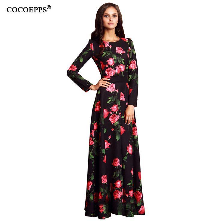 Winter Maxi Dress 2017 Bodycon Party Dresses Plus Size Vestidos casual printing Dashiki Boho Long Dress