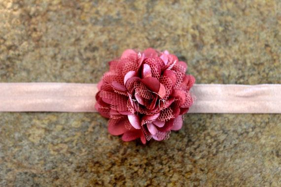 Dusty Pink Satin and lace puff flower headband 2'' on Etsy, $5.00 CAD