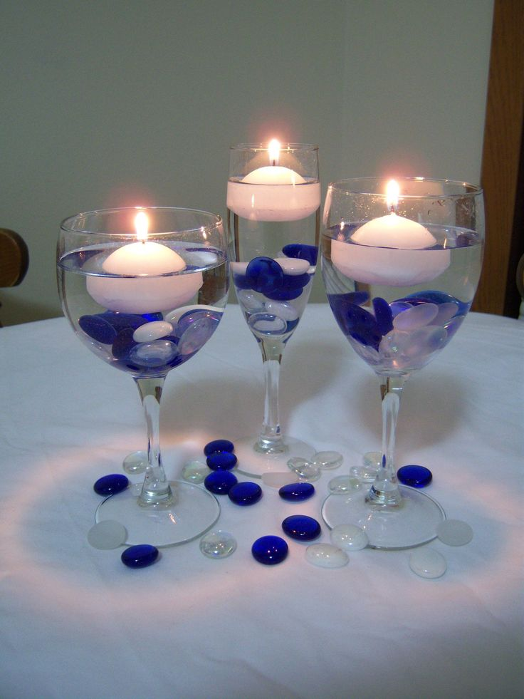 centerpieces (one pink, one blue, one purple)