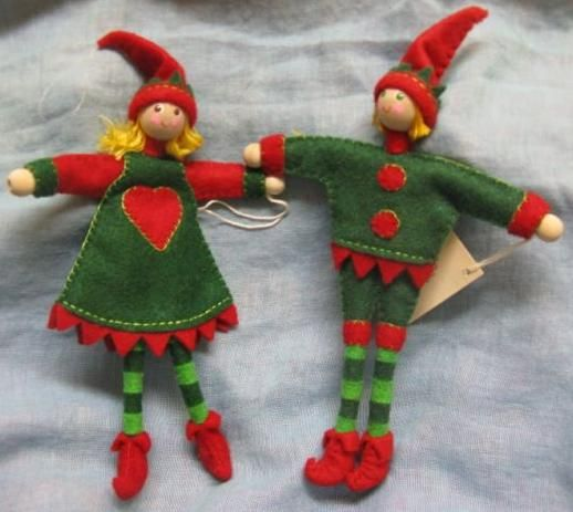 Red and Green Gnomie Pair