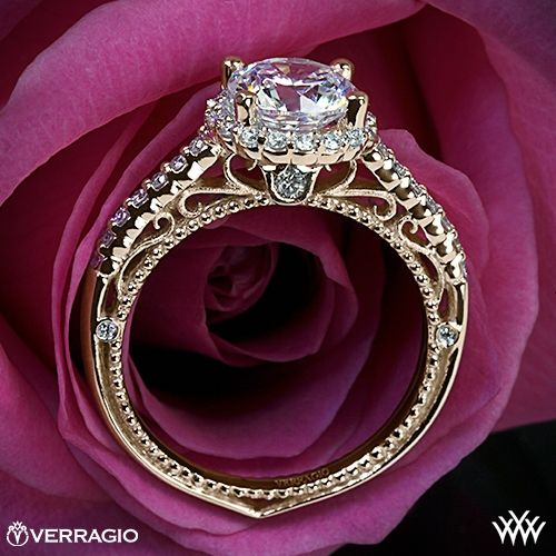 Verragio Beaded Shared-Prong Halo Diamond Engagement Ring