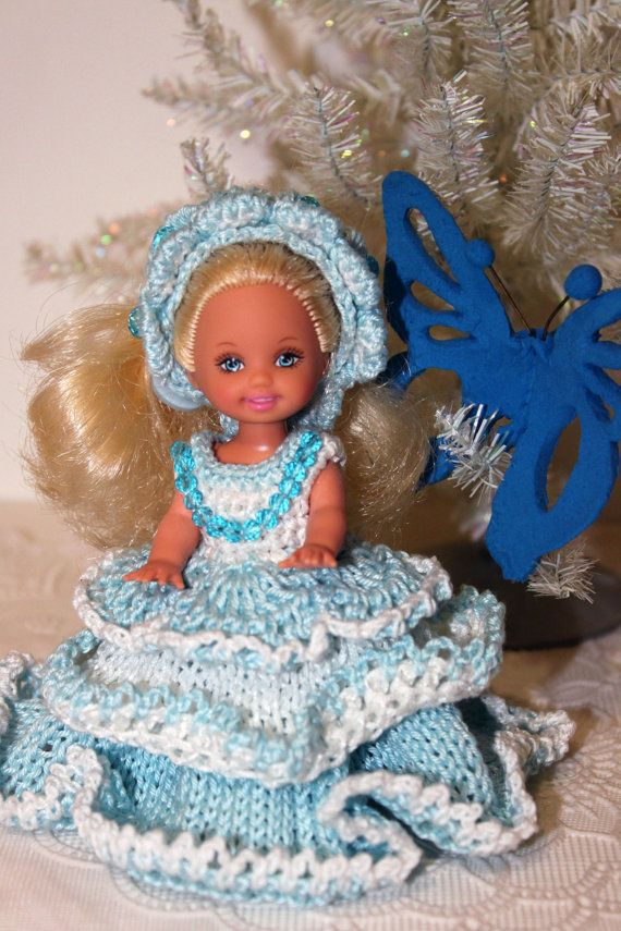 Dress  for 4,5 inches  Kelly Doll Handmade Miniature Crochet and Knitting dress Dollhouse miniature