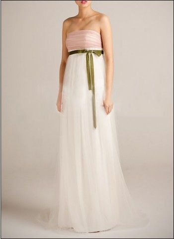 Romantic multi-coloured empire wedding dress in spring shades...