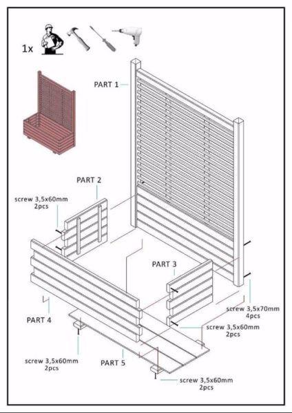 404 M Duża drewniana DONICA z kratką KOBE h120x90x40 – Malbork – 164670694   Gumtree