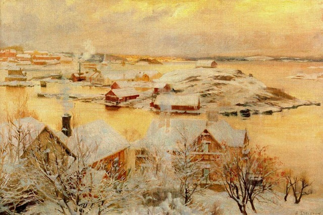 Albert Edelfelt (1854-1905) Finnish Painter: December Day