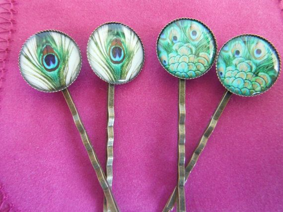 4x Peacock Feather Image Hair Clips by TheSmileEmporium on Etsy, $11.00