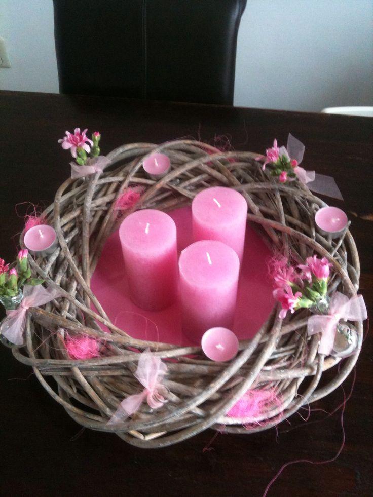Krans met kaarsen voor binnen - bloemschikken