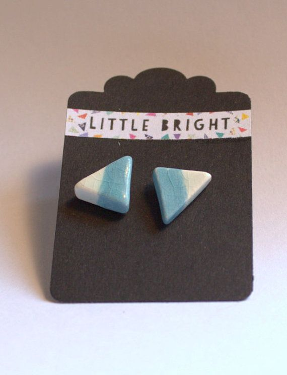 Triangle turquoise and white Ceramic Earrings