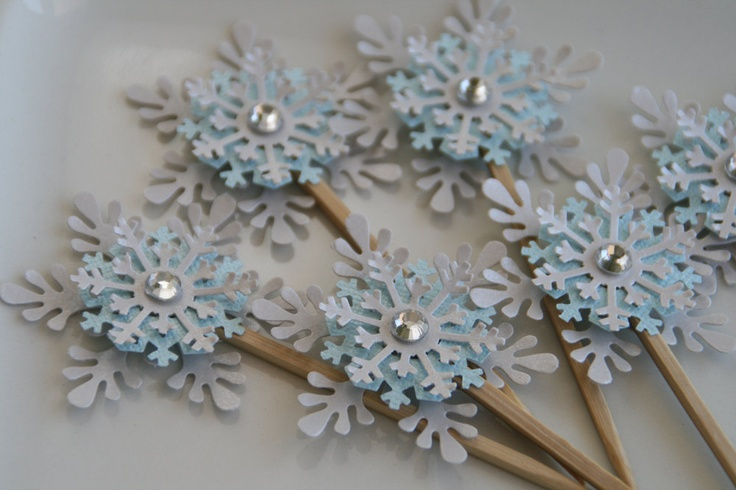 """CUPCAKE TOPPERS - """"Snowflake""""  , Set of 12 - Winter Weddings, Holidays, Christmas, New Year- Celebrations-. $24.95, via Etsy."""