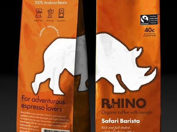 Robust Brew Branding - Rhino Coffee Packaging Makes a Bold Appearance in the Morning Beverage Market (GALLERY)