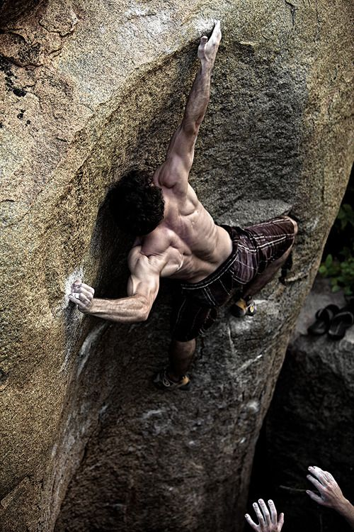 Vincent Causse moving through the thin crux on Indian Summer (V9) in Hampi, India. Photo by Kaare Iverson.