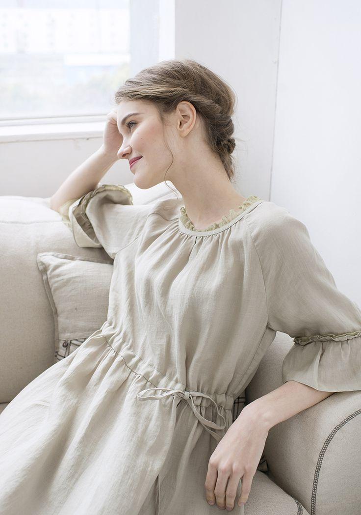 Lynette's CHINOISERIE 2016 лето женщины оригинальный дизайн высокое качество северные урожай мори девушки рюшами рукава широкий рами платьякупить в магазине Lynette's Chinoiserie Store наAliExpress