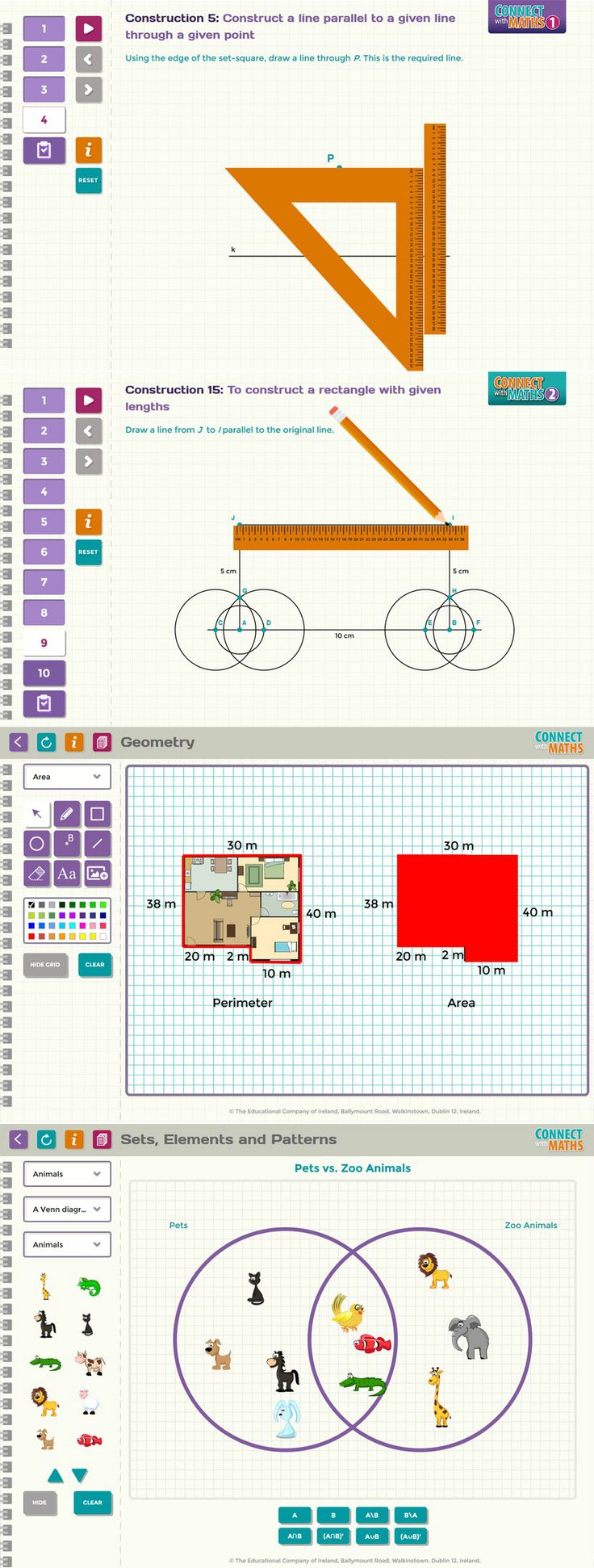 Connect with Maths is a series of digital textbooks.Two projects were created: A series of constructions animations to show how to draw geometrical shapes and figures. A suite of 8 versatile Interactive Tools that can be manipulated to explore key mathematical concepts. We were responsible for complete application preparation, starting from website prototype, through graphic design and ending up on HTML/CSS/JS development. www.merixstudio.com/case-studies/educational-company-ireland/