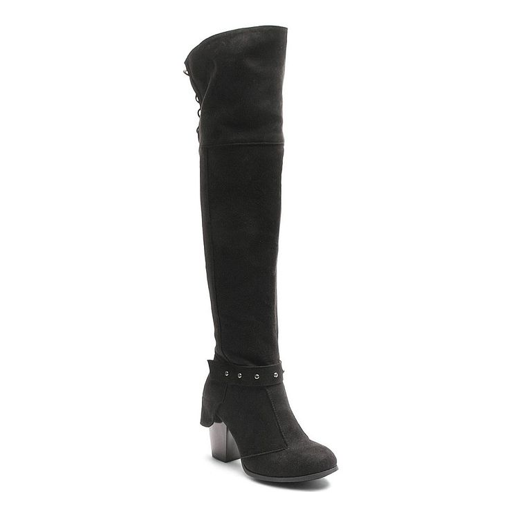 Kisses by 2 Lips Too Too Lunar Women's Over-The-Knee Boots, Size: medium (10), Black