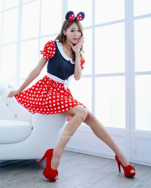2016 moda Sexy Minnie Mouse Traje de Halloween Traje Cosplay Fantasia Adulto Traje Conto de Fadas Do Traje Vestido para As Mulheres