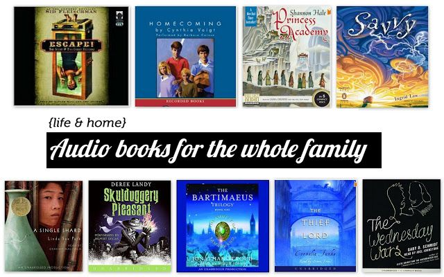 Do you guys listen to audiobooks as a family?  They're perfect for long car trips and this is a great list!