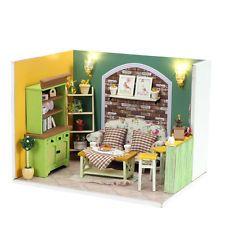 Kits de Madera Casa de Muñecas en Miniatura hágalo usted mismo Casa Habitación Con Muebles + Cubierta Verde Isla
