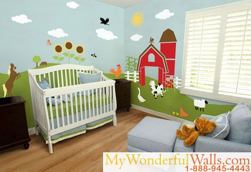 Image Detail for - A farm baby nursery theme is a great choice for new parents looking for options. A farm wall mural complete with barnyard animals will amuse your little baby and keep ...