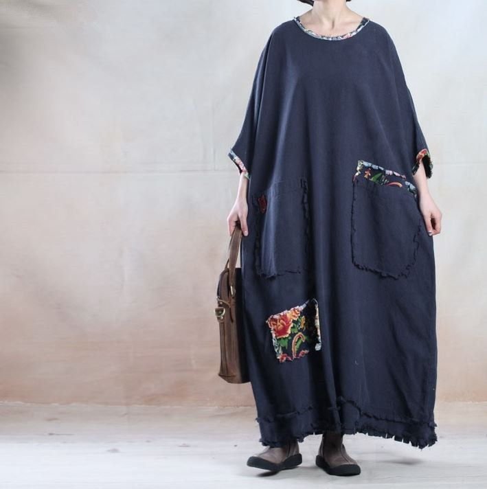 ae6aa8db45 BUYKUD-Women Spring And Fall Plus Size Linen Maxi Dress - Buykud - 1 ...