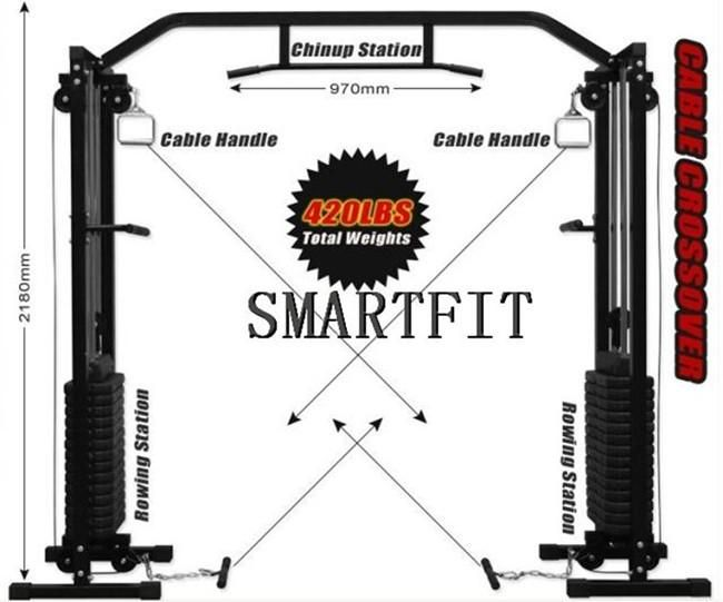 Wheels gym fitness equipment heavy duty cable cross over