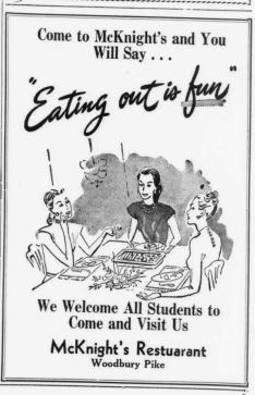 McKnight's Restaurant - Woodbury Pike - MTSU Sidelines 20 Sep 1950