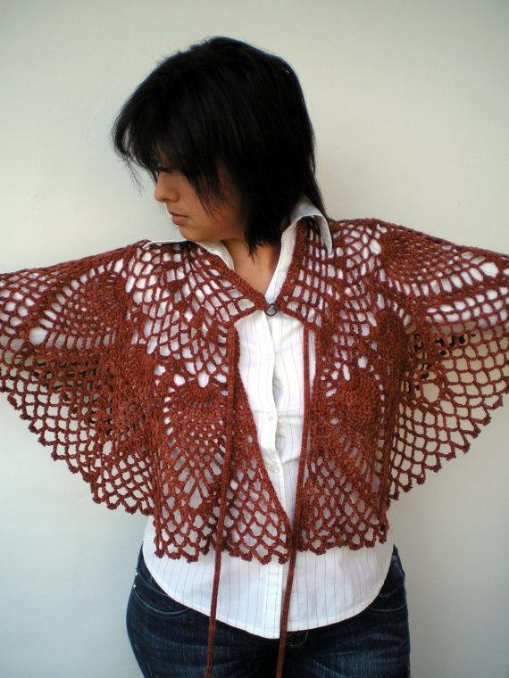 Angel Fashion Capelet  Luxury Fine Wool Cape Woman by NonnaLia, $59.00
