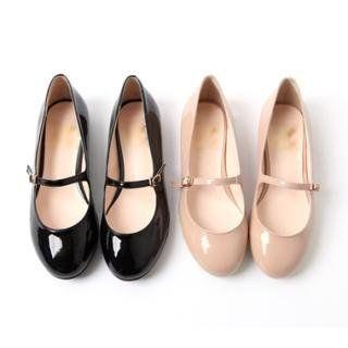 YESSTYLE: kenzi w- Patent Mary Jane Flats (Black - 235) - Free International Shipping on orders over $150