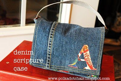 Scripture Tote from jeans.  I also love how she did the pockets: using jean pockets and sewing for pencils and such.