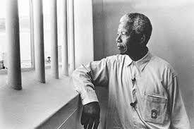 Nelson Mandela in is former cell on Robbin Island