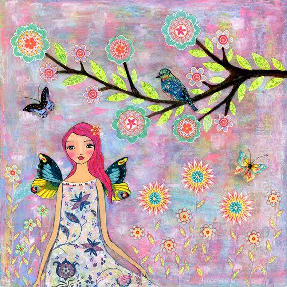 Fairy Art -Fairy Illustration - Fairy Painting - Girl with Butterfly Wings  - Fairy Wings - Wooden Art Block Print  - Fairytale Illustration