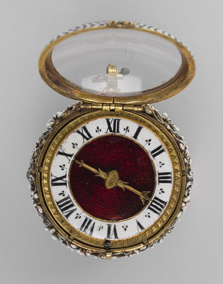 Watch, ca. 1650 Movement by Nicolas Bernard (French, recorded 1636-70) Case: enameled gold; Dial: enameled gold, with a single gilded brass hand; Movement: gilded brass and steel, partly blued