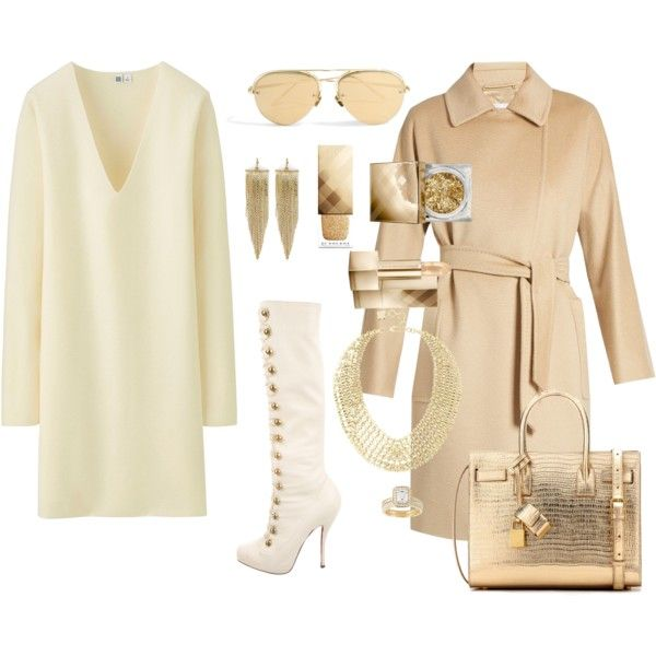 How to...White and gold winter chic by vicky-angelidou-pappas on Polyvore featuring Uniqlo, MaxMara, Christian Louboutin, Yves Saint Laurent, BCBGMAXAZRIA, Kenneth Jay Lane, Linda Farrow and Burberry