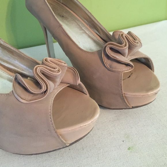 Shoe dazzle nude Nude suede Platform heels from shoe dazzle.  Literally match anything.  I LOVE these shoes as you can see from the wear. Shoe Dazzle Shoes Heels